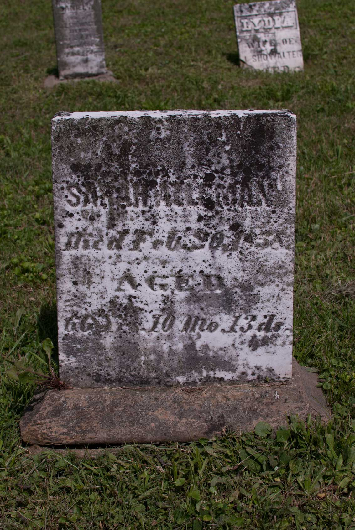 Sarah Alleman, died Feb. 20, 1858 - AGED - 66 yrs. 10 mo. 13 ds.