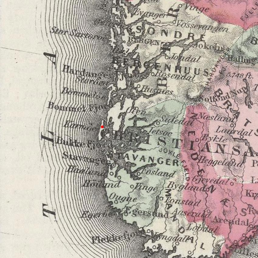 Avaldsnes, Norway on 1865 map © 2000 Cartography Associates (DavidRumsey.com)