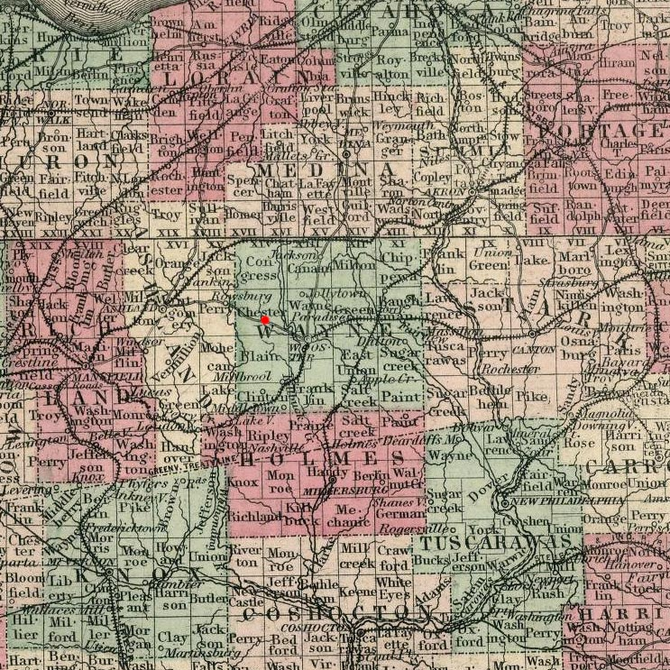 Chester Township, OH on 1869 map © 2000 Cartography Associates (DavidRumsey.com)