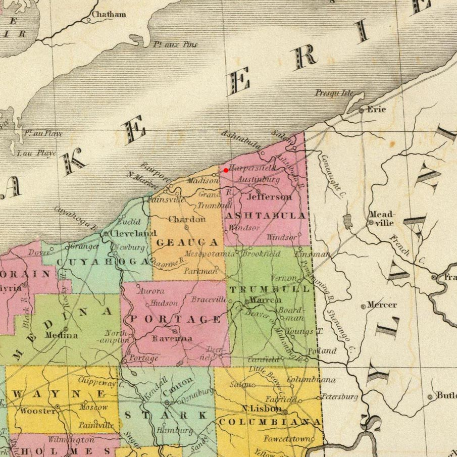 Harpersfield, OH on 1826 map © 2000 Cartography Associates (DavidRumsey.com)