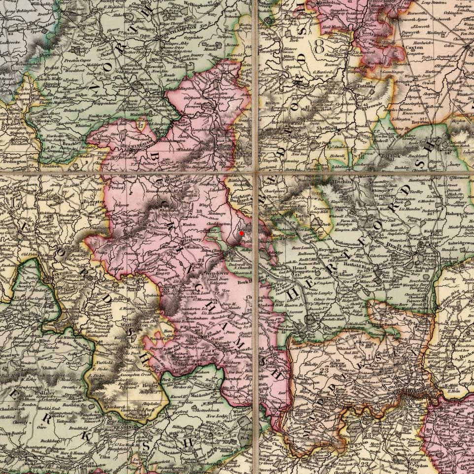 Ivinghoe, Buckinghamshire, England on 1820 map © 2000 Cartography Associates (DavidRumsey.com)