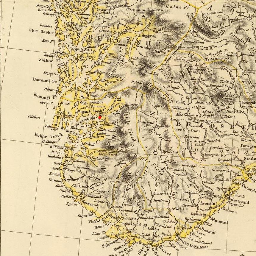 Jelsa, Norway on 1832 map © 2000 Cartography Associates (DavidRumsey.com)