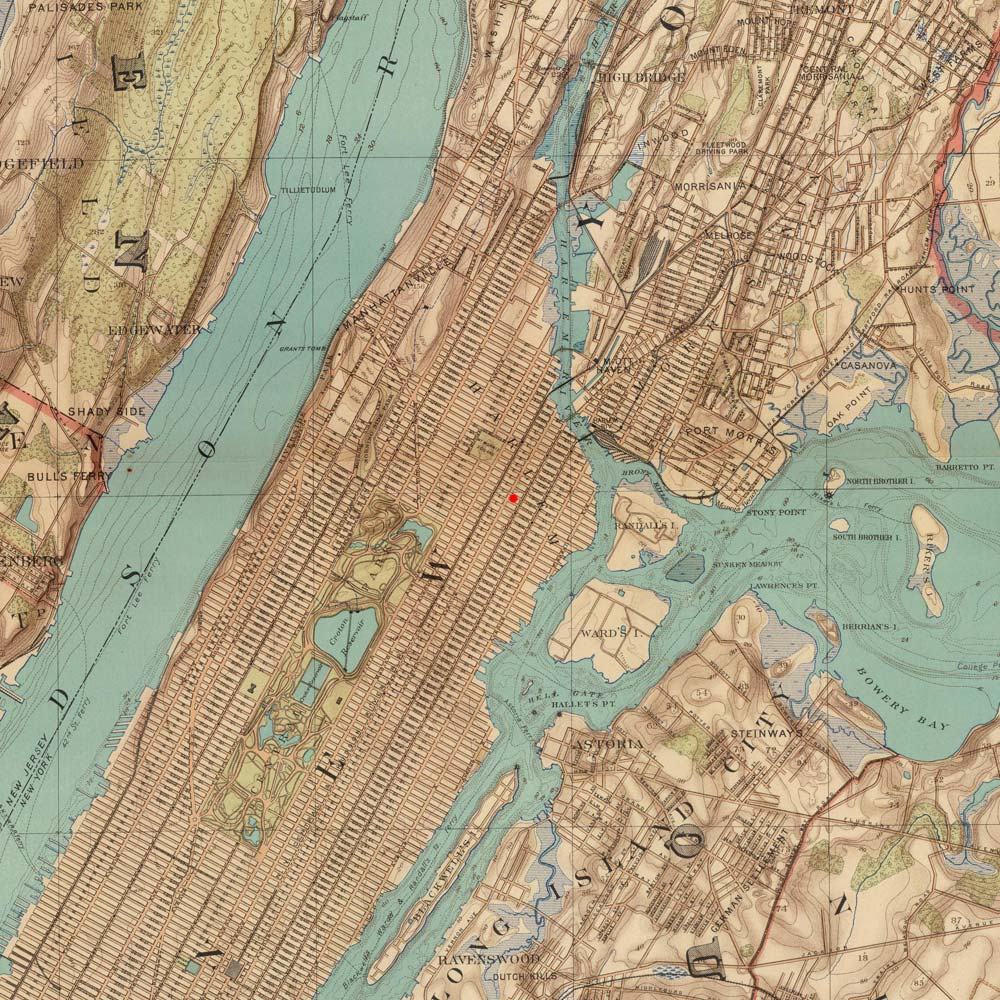 Manhattan, New York on 1891 map © 2000 Cartography Associates (DavidRumsey.com)