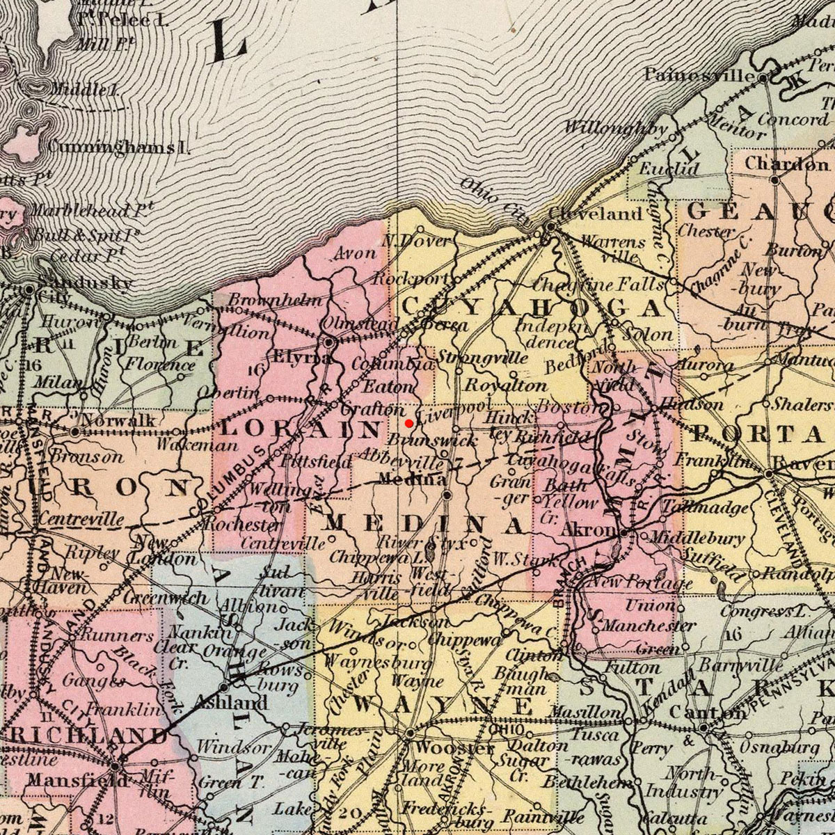 Liverpool Township, OH on 1860 map © 2000 Cartography Associates (DavidRumsey.com)