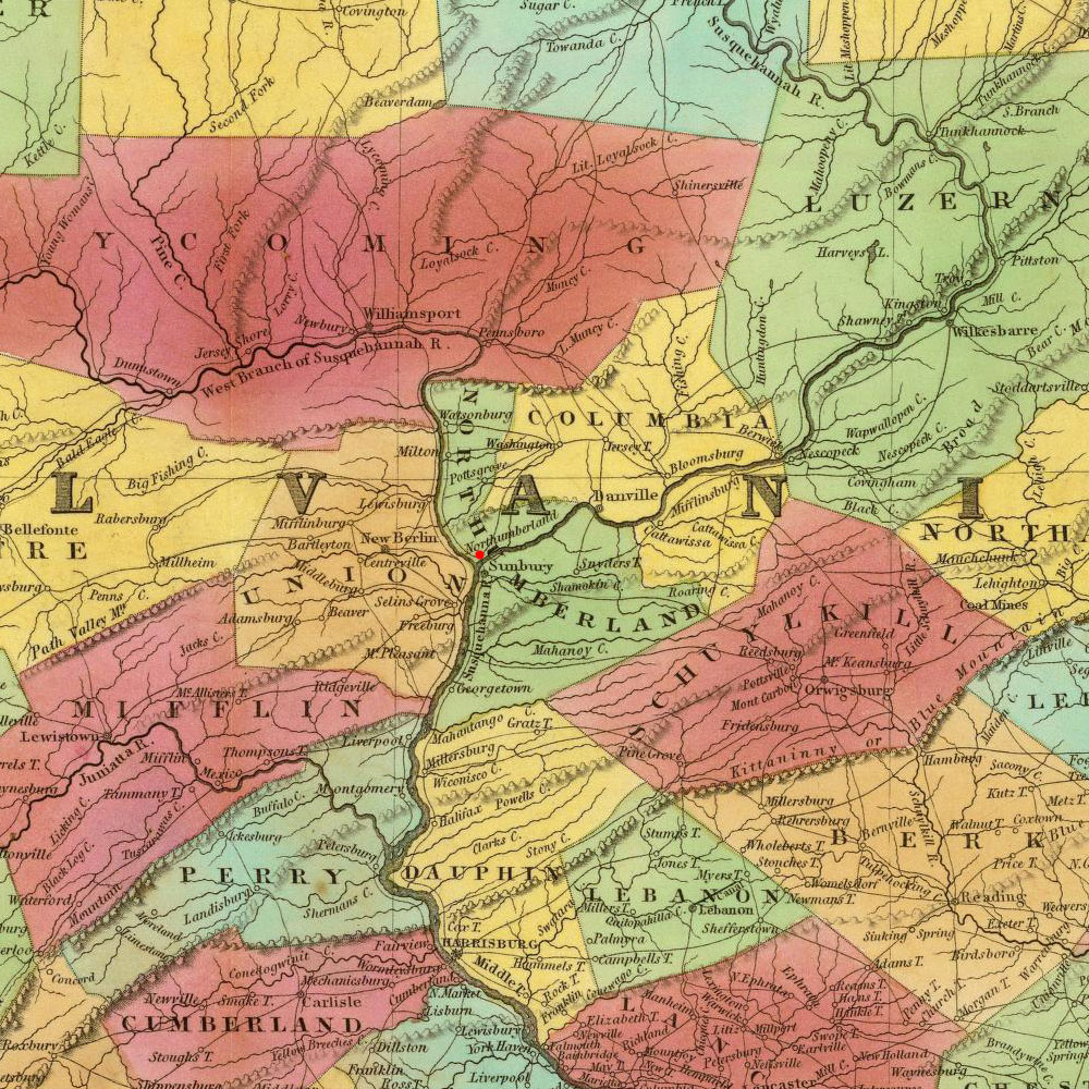 Northumberland, PA on 1825 map © 2000 Cartography Associates (DavidRumsey.com)