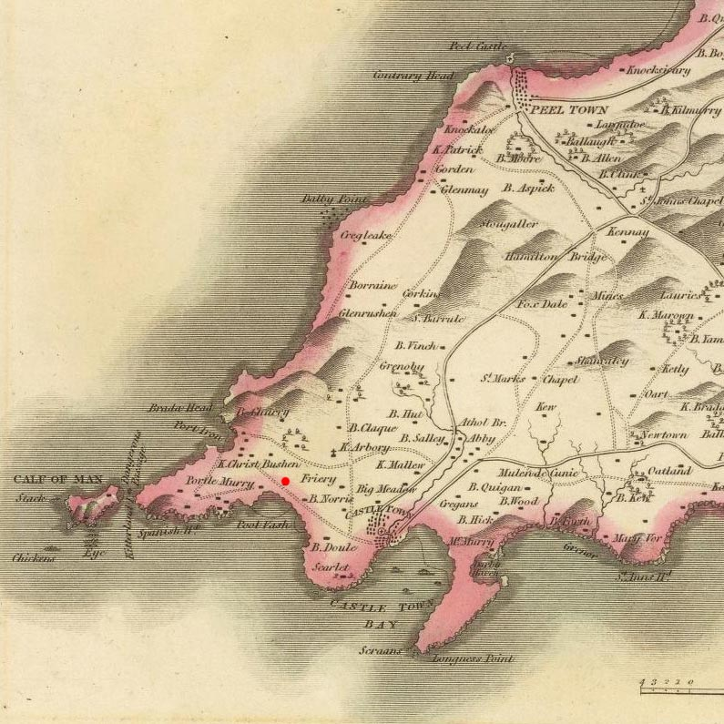 Rushen, Isle of Man on 1829 map © 2000 Cartography Associates (DavidRumsey.com)