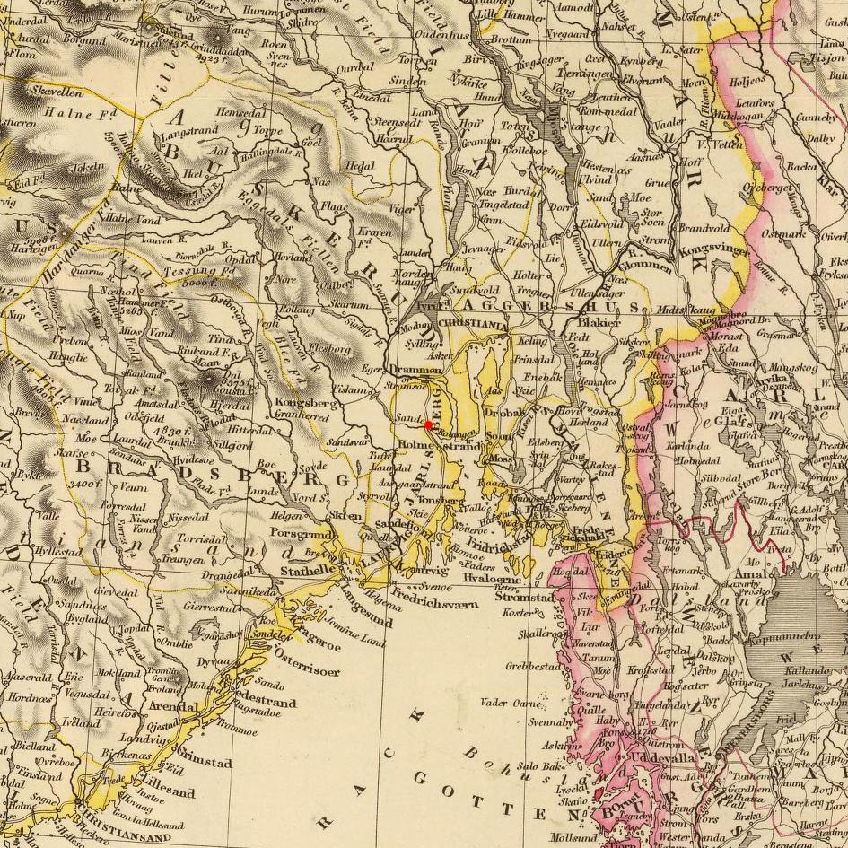 Sande, Norway on 1832 map © 2000 Cartography Associates (DavidRumsey.com)