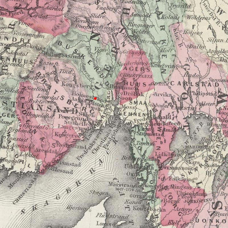 Sandsvaer, Norway on 1865 map © 2000 Cartography Associates (DavidRumsey.com)