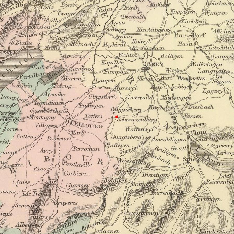 Schwarzenburg, Bern, Switzerland on 1854 map © 2000 Cartography Associates (DavidRumsey.com)