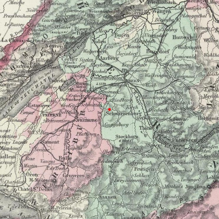 Schwarzenburg, Switzerland on map in 1874 © 2000 Cartography Associates (DavidRumsey.com)
