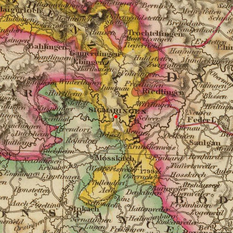Sigmaringen, Germany on Historic 1824 Map (c) DavidRumsey.com