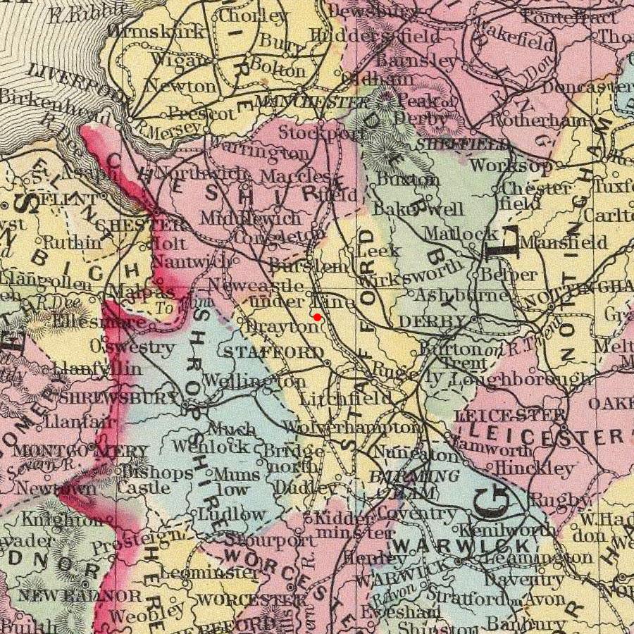 Trentham, England on 1860 map © 2000 Cartography Associates (DavidRumsey.com)