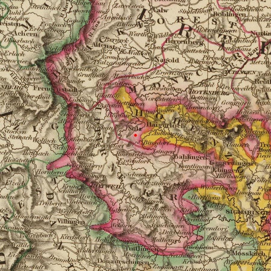 Vöhringen, Germany on 1828 map © 2000 Cartography Associates (DavidRumsey.com)
