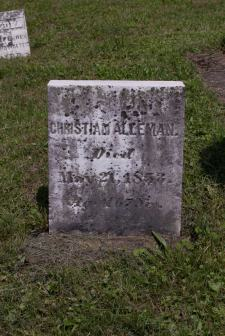 Christian Alleman, died May 21, 1853 - Aged 67 Yrs.